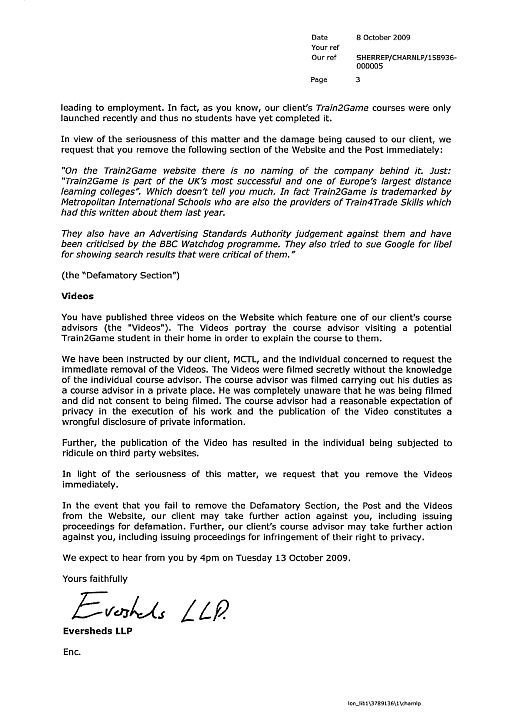 Train2Game Eversheds letter #3