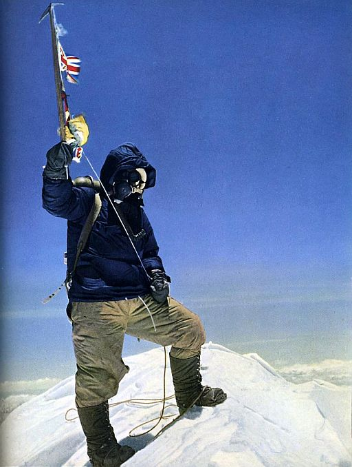 Everest first ascent. Tenzing Norgay on top.
